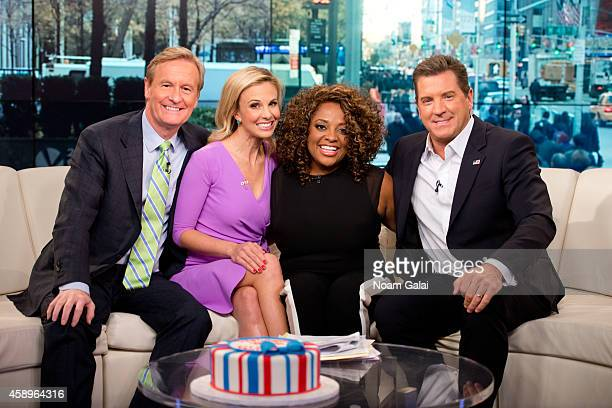 Steve Doocy Elisabeth Hasselbeck Sherri Shepherd and Eric Bolling pose on set as host Elisabeth Hasselbeck returns to FOX and Friends at FOX Studios...
