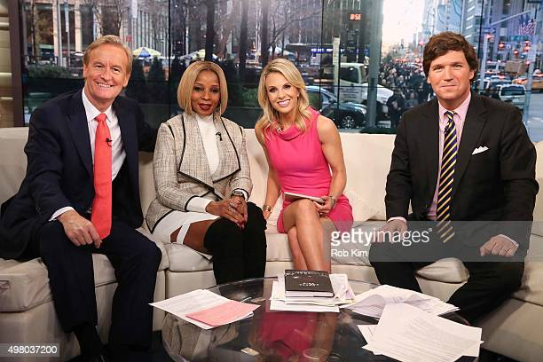 Steve Doocy Mary J Blige Elisabeth Hasselbeck and Tucker Carlson appear on Fox Friends at FOX Studios on November 20 2015 in New York City
