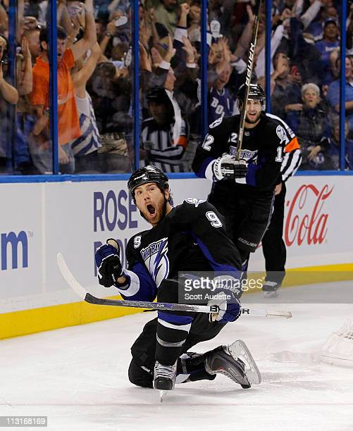 Steve Downie of the Tampa Bay Lightning celebrates his third period goal against the Pittsburgh Penguins in Game Six of the Eastern Conference...