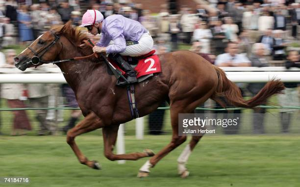 Steve Drowne and Sakhee's Secret land The Ultimate Travel Stakes Race run at Newbury Racecourse on May 18 in Newbury England