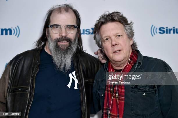 Steve Earle and Steve Forbert visit SiriusXM Studios on March 19, 2019 in New York City.