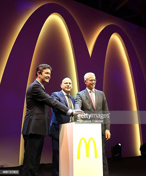 Steve Easterbrook CEO McDonald Holger Beeck CEO McDonald Germany and Stefan Schulte CEO Fraport during the reopening of the McDonald's Flagship...