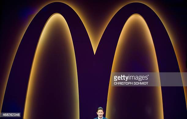 Steve Easterbrook CEO of US fast food chain McDonald's speaks during the reopening of the McDonald's Restaurant at Frankfurt International Airport on...