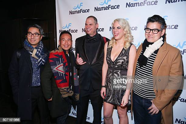 Steve Eichner Daniela Kirsch and Peter Som attend the launch party for NameFacecom at No 8 on January 27 2016 in New York City