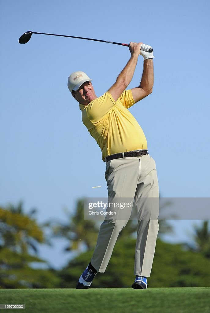 KA'UPULEHU-KONA, HI - JANUARY 18: Steve Elkington of Australia plays from the second tee during the first round of the Mitsubishi Electric Championship at Hualalai Golf Club on January 18, 2013 in Ka'upulehu-Kona, Hawaii.