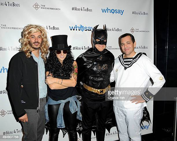 Steve Ellis Jenna Colombini Rob Gregory and Harvey Scwartz attend WhoSays #HereForTheBoos Halloween costume party at the Knickerbocker Hotel Rooftop...