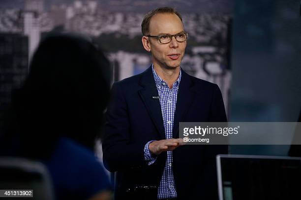Steve Ells chairman and cochief executive officer of Chipotle Mexican Grill Inc speaks during a Bloomberg Television interview in New York US on...