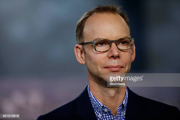 Steve Ells chairman and cochief executive officer of Chipotle Mexican Grill Inc listens to a question during a Bloomberg Television interview in New...