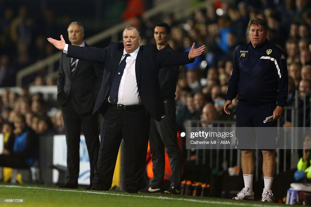 Steve Evans manager of Leeds United appeals during the Sky Bet Championship match between Fulham and Leeds United at Craven Cottage on October 21, 2015 in London, England.
