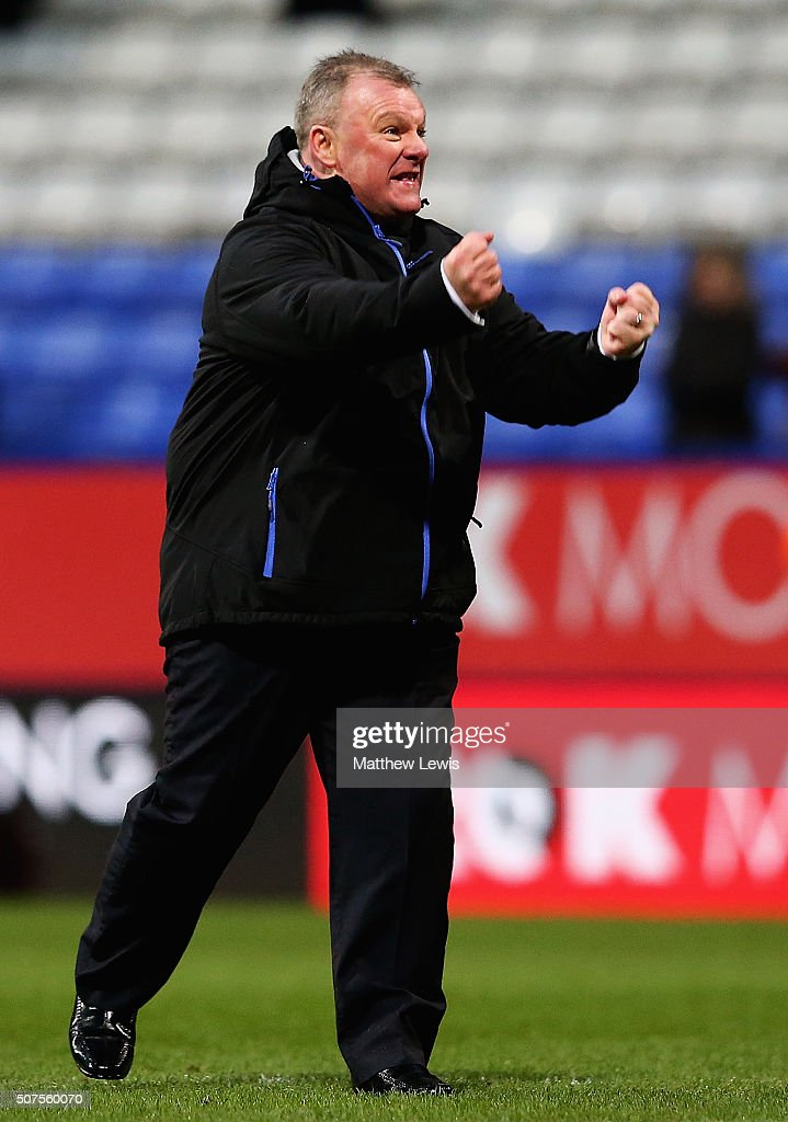 Steve Evans, manager of Leeds United celebrates his teams win over Bolton Wanderers during The Emirates FA Cup Fourth Round match between Bolton Wanderers v Leeds United at Macron Stadium on January 30, 2016 in Bolton, England.