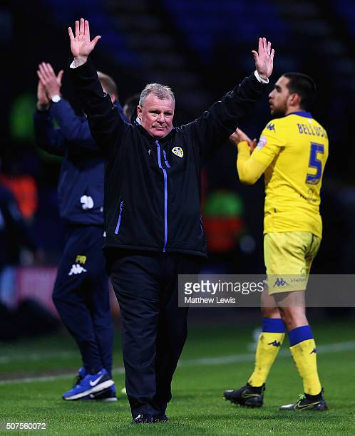 Steve Evans manager of Leeds United celebrates his teams win over Bolton Wanderers during The Emirates FA Cup Fourth Round match between Bolton...