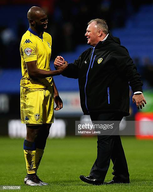 Steve Evans manager of Leeds United celebrates his teams win over Bolton Wanderers with Souleymane Doukara during The Emirates FA Cup Fourth Round...