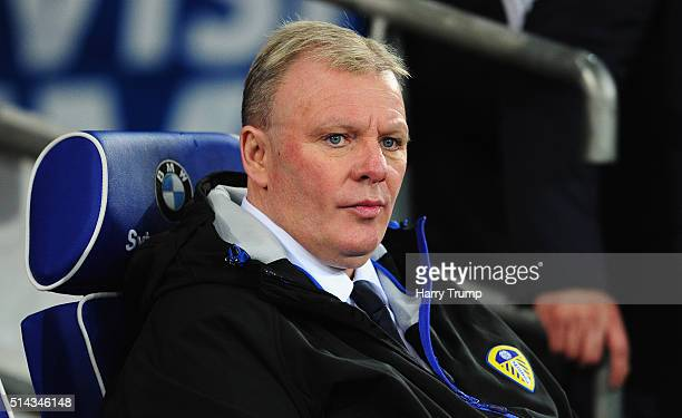 Steve Evans Manager of Leeds United looks on during the Sky Bet Championship match between Cardiff City and Leeds United at the Cardiff City Stadium...