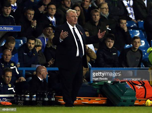 Steve Evans manager of Leeds United reacts during the Sky Bet Championship match between Leeds United and Blackburn Rovers on October 29 2015 in...