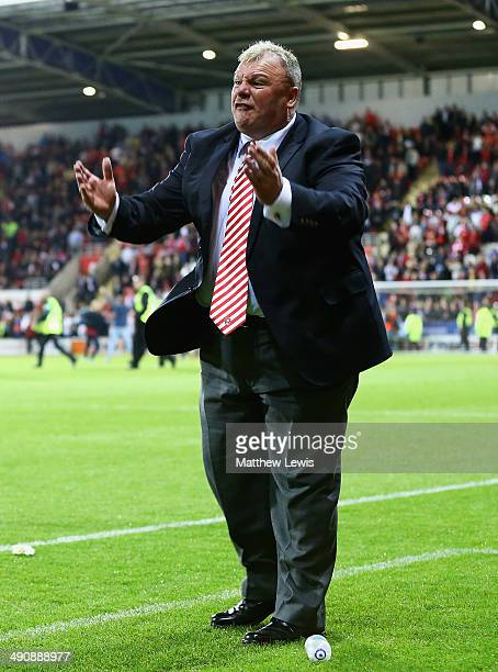Steve Evans manager of Rotherham United in action during the Sky Bet League One Play Off Semi Final Second Leg between at Rotherham United and...
