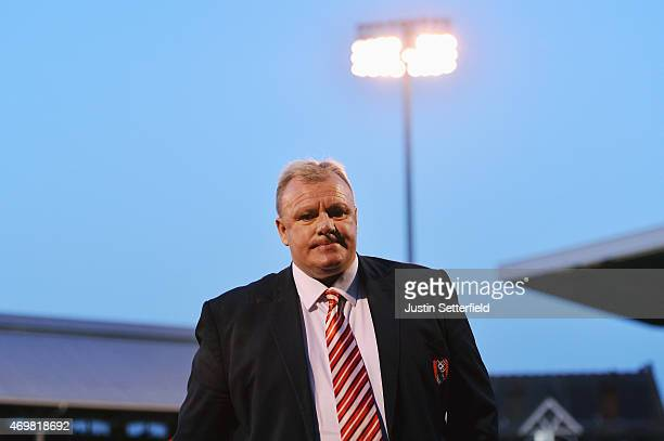 Steve Evans manager of Rotherham United looks on prior to the Sky Bet Championship match between Fulham and Rotherham United at Craven Cottage on...