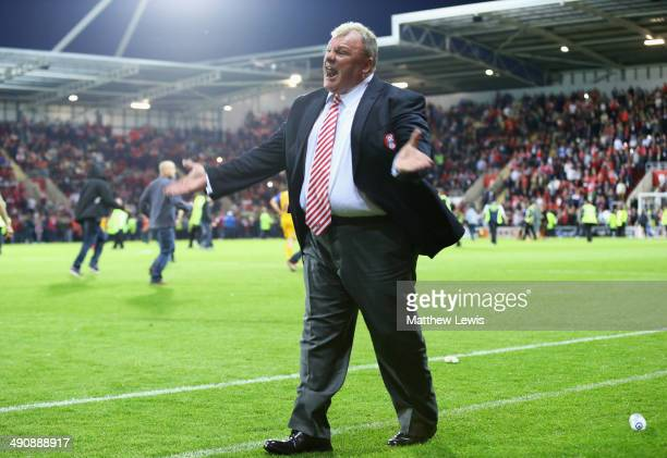 Steve Evans manager of Rotherham United tells the home supporters to get off the pitch during the Sky Bet League One Play Off Semi Final Second Leg...