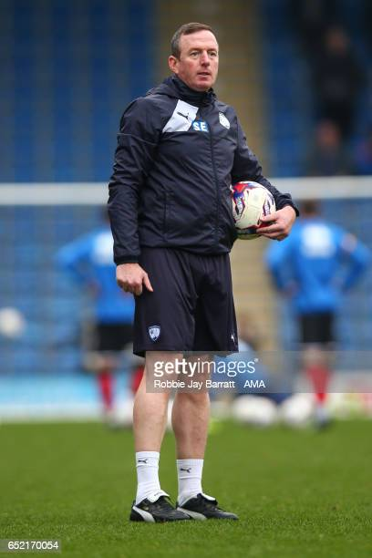Steve Eyre assistant head coach / manager of Chesterfield during the Sky Bet League One match between Chesterfield and Shrewsbury Town at Proact...