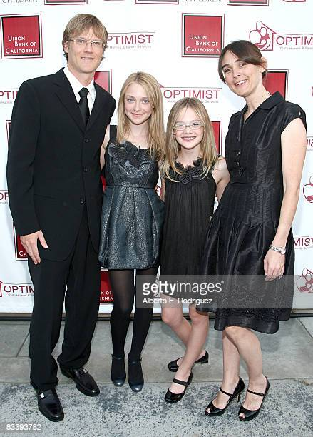 Steve Fanning actress Dakota Fanning actress Elle Fanning and Joy Fanning arrive at The Optimist Youth Homes Family Services' 2008 Mentor Awards...