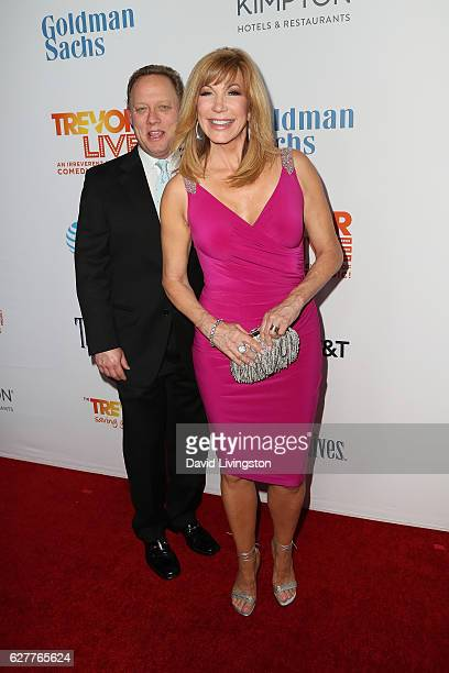 Steve Fenton and Leeza Gibbons arrive at the TrevorLIVE Los Angeles 2016 Fundraiser at The Beverly Hilton Hotel on December 4 2016 in Beverly Hills...