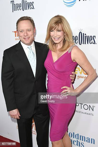 Steve Fenton and Leeza Gibbons attend the TrevorLIVE Los Angeles 2016 Fundraiser Arrivals at The Beverly Hilton Hotel on December 4 2016 in Beverly...