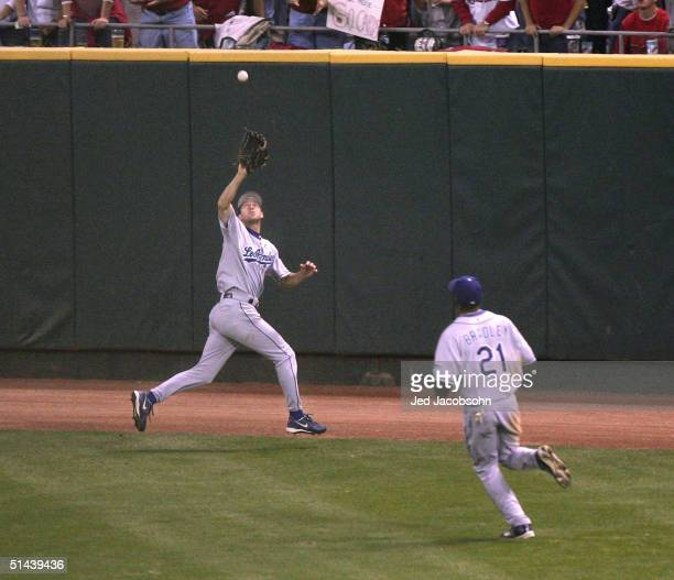 Steve Finley of the Los Angeles Dodgers catches a pop fly in Game 2 of National League Division Series against the St Louis Cardinals October 7 2004...