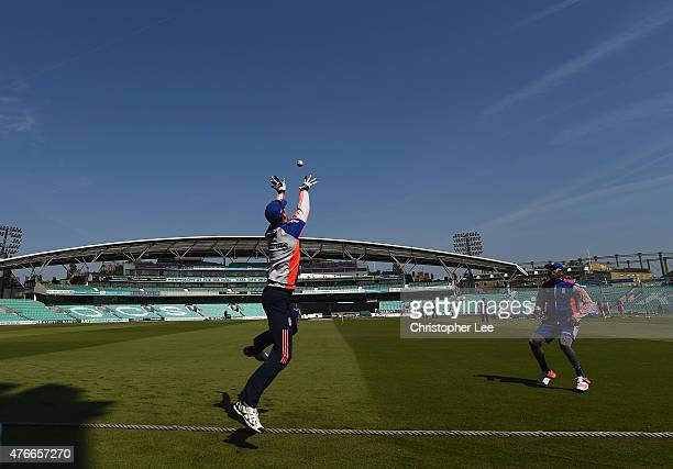 Steve Finn makes a catch on the boundary during the England Nets Session at The Kia Oval on June 11 2015 in London England