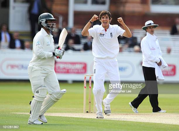 Steve Finn of England celebrates taking the wicket of Tamin Iqbal of Bangladesh during day 4 of the 1st npower Test match between England and...