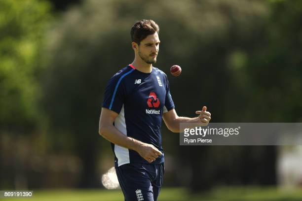 Steve Finn of England prepares to bowl during an England nets session at Richardson Park on November 2, 2017 in Perth, Australia.