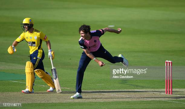 Steve Finn of Middlesex bowls during the Vitality Blast match between Middlesex and Hampshire at Lord's Cricket Ground on September 12, 2020 in...