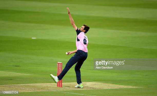 Steve Finn of Middlesex bowls during the Vitality Blast T20 match between Middlesex and Kent at Lord's Cricket Ground on August 29, 2020 in London,...