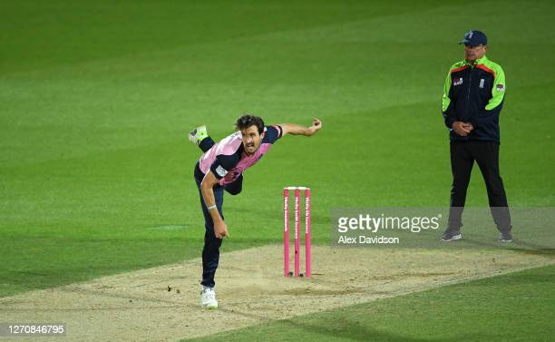 Steve Finn of Middlesex bowls during the Vitality Blast T20 match between Surrey and Middlesex at The Kia Oval on September 05, 2020 in London,...