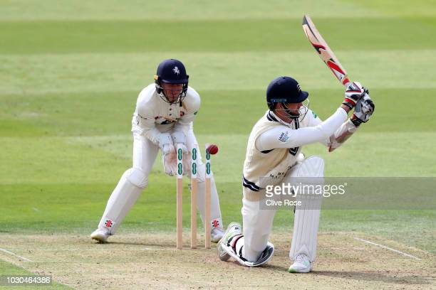 Steve Finn of Middlesex is clean bowled by Joe Denly of Kent during the Specsavers County Championship Division Two match between Middlesex and Kent...