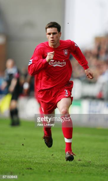 11 FEBRUARY 2006 Steve Finnan of Liverpool during the Barclays Premiership match between Wigan Athletic and Liverpool at the JJB Stadium on February...