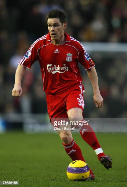 Steve Finnan of Liverpool in action during the Barclays Premier League match between Derby County and Liverpool at Pride Park on December 26 2007 in...