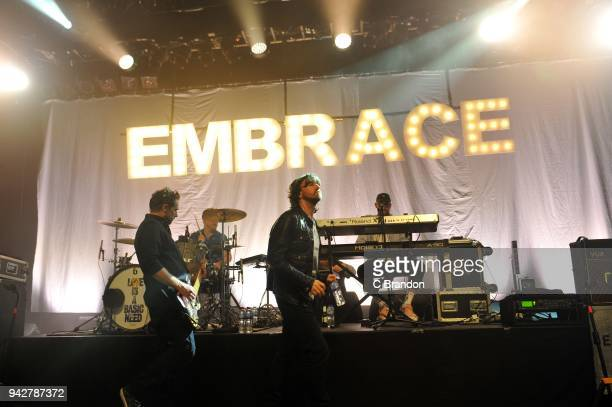 Steve Firth Mike Heaton Danny McNamara and Mickey Dale of Embrace perform on stage at the O2 Shepherd's Bush Empire on April 6 2018 in London England