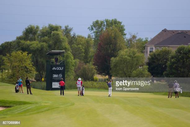 Steve Flesch hits his 2nd shot on the 10th fairway during the Final Round of the 3M Championship on August 6 2017 at TPC Twin Cities in Blaine...