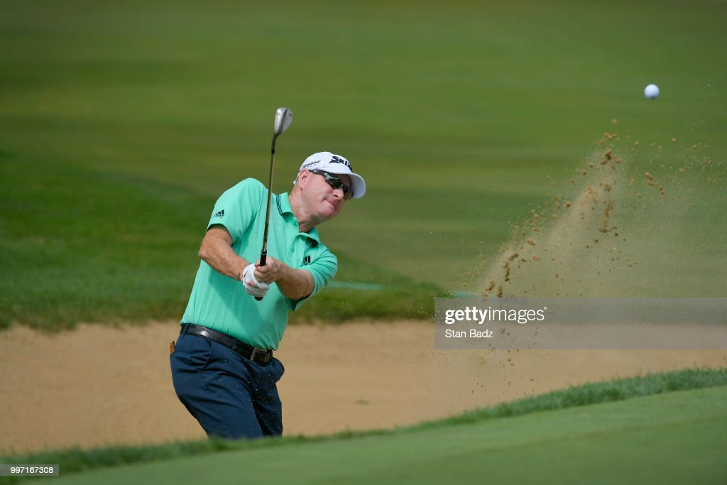 Steve Flesch plays a bunker shot on the seventh hole during the first round of the PGA TOUR Champions Constellation SENIOR PLAYERS Championship at Exmoor Country Club on July 12, 2018 in Highland Park, Illinois.