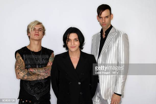 Steve Forrest Brian Molko and Stefan Olsdal of Placebo pose for a picture in the studio during the 2009 MTV Europe Music Awards held at the O2 Arena...