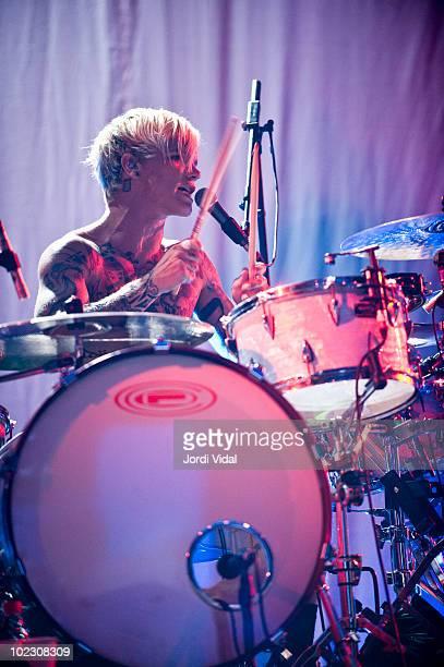 Steve Forrest of Placebo performs on stage at Palau Sant Jordi on June 22, 2010 in Barcelona, Spain.