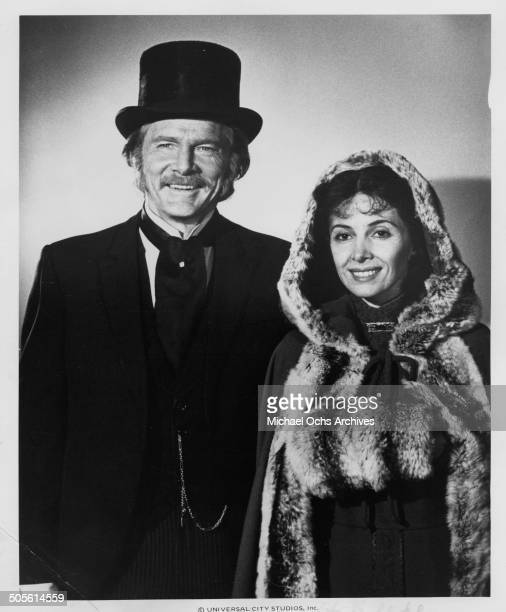 Steve Forrest poses with Barbara Parkins in a scene for the TVMini Series Testimony of Two Men circa 1977