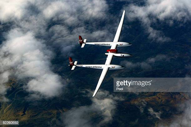 Steve Fossett's Virgin Atlantic GlobalFlyer passes over the Atlas Mountains in Morocco on March 1 2005 The radical aircraft is piloted by Fossett the...