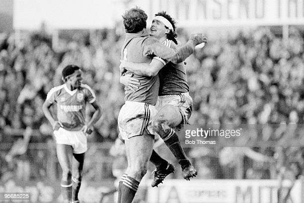 Steve Foster and goalkeeper Joe Corrigan of Brighton and Hove Albion celebrate victory after the Brighton and Hove Albion v Liverpool FA Cup 4th...
