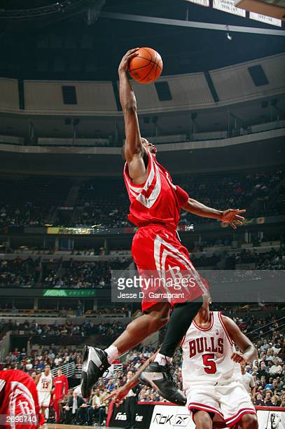 Steve Francis of the Houston Rockets goes up for a dunk against the Chicago Bulls in NBA action November 3 2003 at the United Center in Chicago...