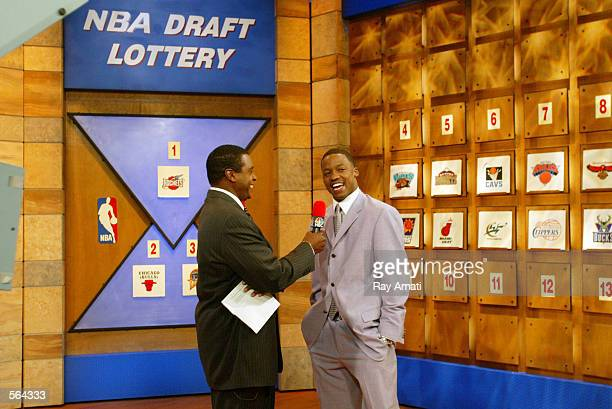 Steve Francis of the Houston Rockets is interviewed by Ahmad Rashad after the Rockets won the first overall pick in this years NBA Draft at the 2002...