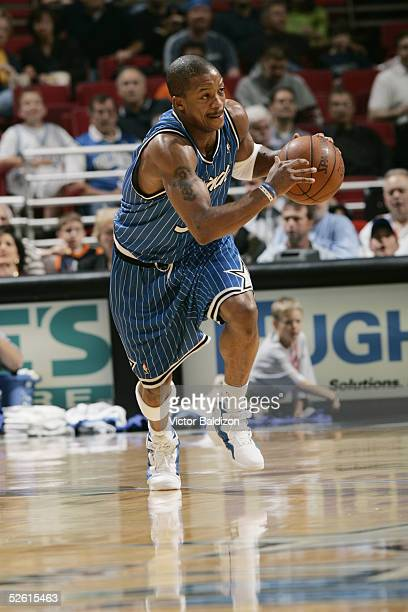 Steve Francis of the Orlando Magic pushes the ball upcourt during the game against the Minnesota Timberwolves on March 11, 2005 at TD Waterhouse...