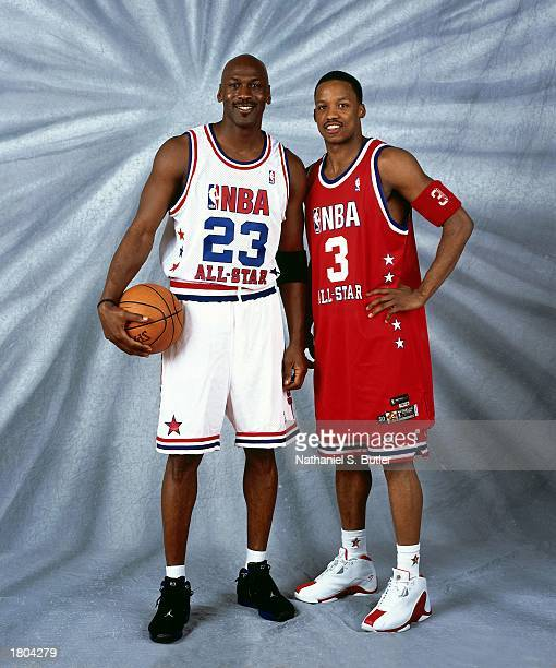 Steve Francis of the Western Conference AllStars and Michael Jordan of the Eastern Conference AllStars pose for a portrait prior to the 52nd NBA...