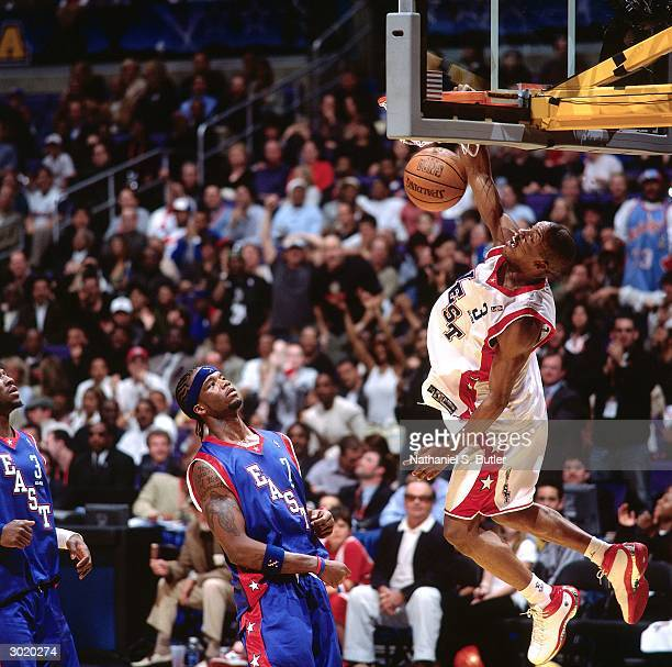 Steve Francis of the Western Conference AllStars dunks against the Eastern Conference AllStars during the 2004 AllStar Game on February 15 2004 at...