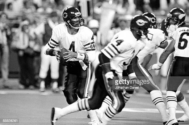 Steve Fuller of the Chicago Bears drops back to pass during the game against the Minnesota Vikings at the Metrodome on September 19 1985 in...