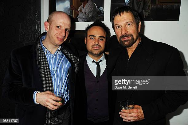 Steve Furst Pepe Balderrama and Michael Brandon attend the press night of 'Wet Weather Cover' at the Arts Theatre on April 7 2010 in London England